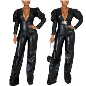 ♥️Sassy Black Faux Leather Jumpsuit